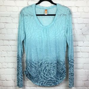 Lucy Ombre Burnout Top in teals and blues. L